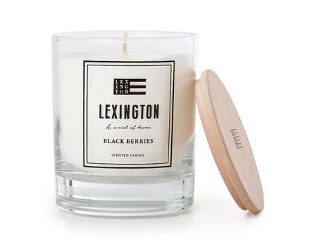 Scented Candle with Wooden Lid, Black Berries