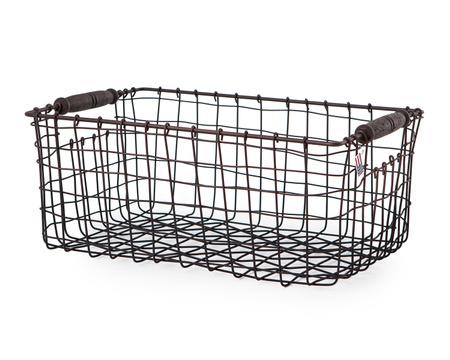 Wire Basket with Wooden Handle, Medium